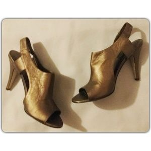 Nine West Bronze Leather Heels 6